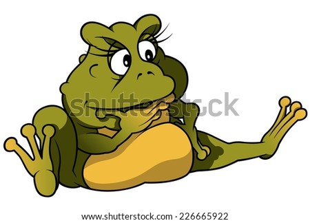 Sitting Frog - Colored Cartoon Illustration, Vector
