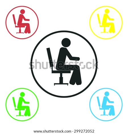 Sitting in a chair person icon, vector illustration. Flat design style. - stock vector