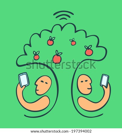 Sitting in the park under apple tree with digital tablets and using free wireless network - stock vector