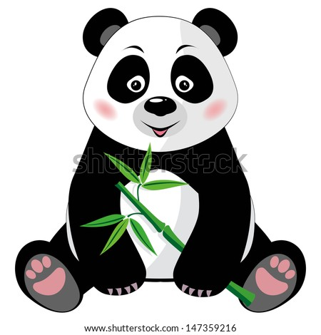 Sitting little cute panda with green bamboo isolated on white background. Vector illustration. EPS 8, no transparency - stock vector