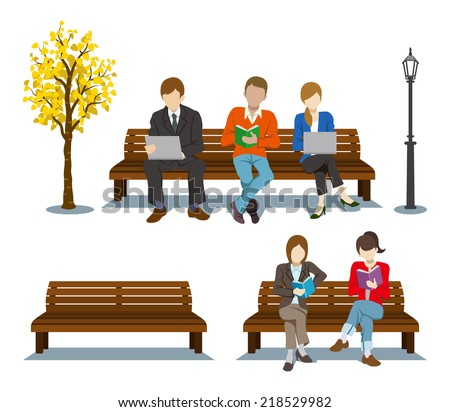 Sitting on the Bench,Various People - stock vector