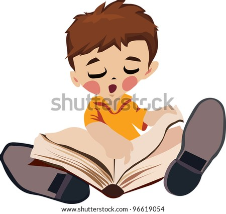 sitting on the floor boy is reading a book while watching your finger - stock vector
