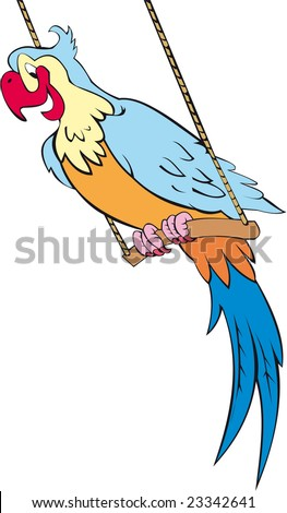 sitting parrot - stock vector