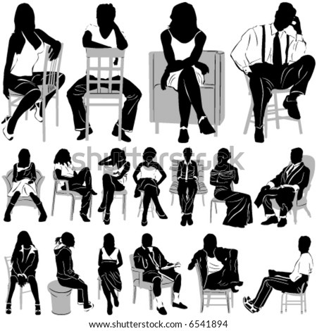 sitting people vector (clothes detail) - stock vector