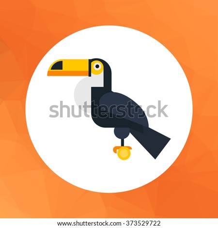 Sitting toucan icon - stock vector