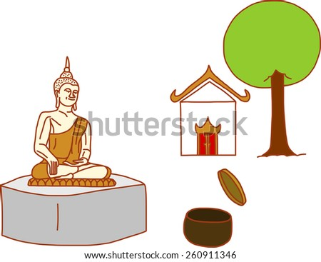 Sitting Tranquilly Buddha in front of temple - stock vector