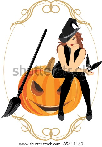Sitting witch on the halloween pumpkin. Festive frame. Vector - stock vector