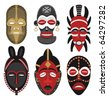 Six African masks. - stock vector