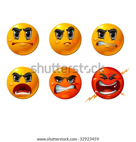 Six agressive smileys - vector set of unhappy and anger faces. - stock vector