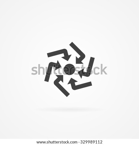 Six arrows pointing into dot in the center. Icon with shadow and isolated on white. - stock vector