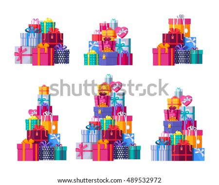 Six big pile colorful wrapped gift 489532972 six big pile of colorful wrapped gift box mountain gifts set beautiful present box negle Image collections