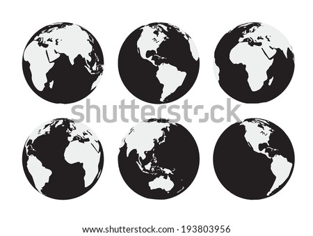 Six black and white vector Earth globes - stock vector
