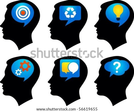 Six black profiles with colorful idea symbols - stock vector