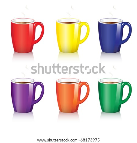 Six bright coffee mugs with steam and shadow. EPS10 vector format. - stock vector