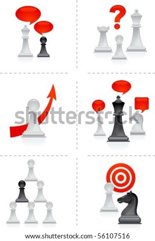Six business concepts illustration with chess figures - stock vector