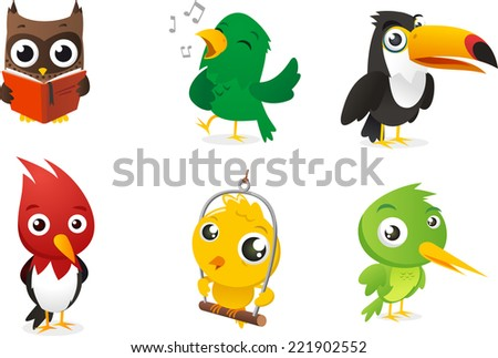 Six Cartoon full color birds set, with owl, parrot, toucan and woodpecker vector illustration.  - stock vector