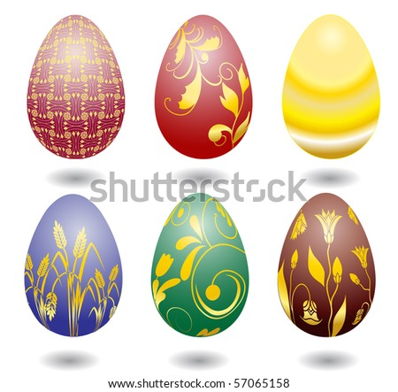 Six color easter eggs - stock vector