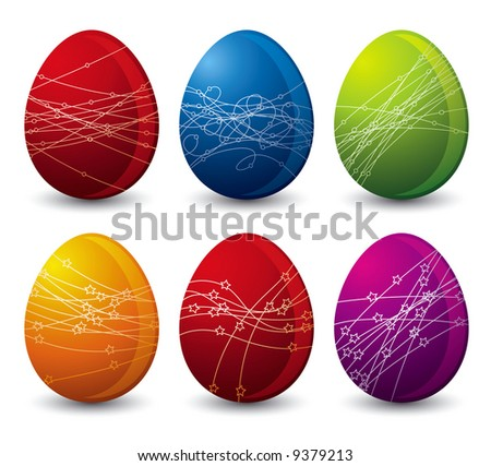 six color easter eggs over white background
