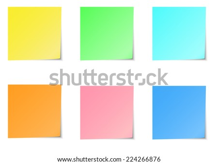 Six color of sticky notes. A vector illustration.