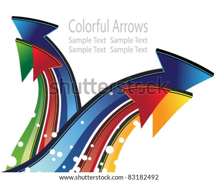 Six colored arrows on a white background