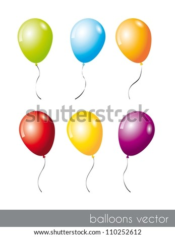 six colorful balloons isolated over white background. vector illustration - stock vector
