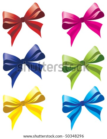 six colorful bows