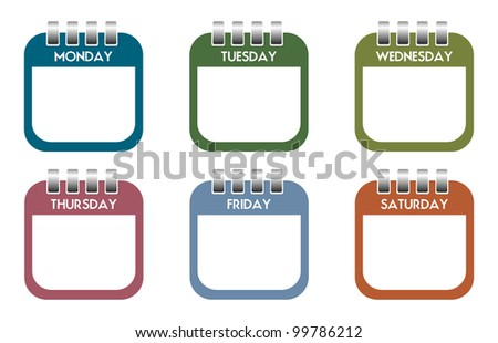 Six colorful calendar sheets with the days of the week - stock vector
