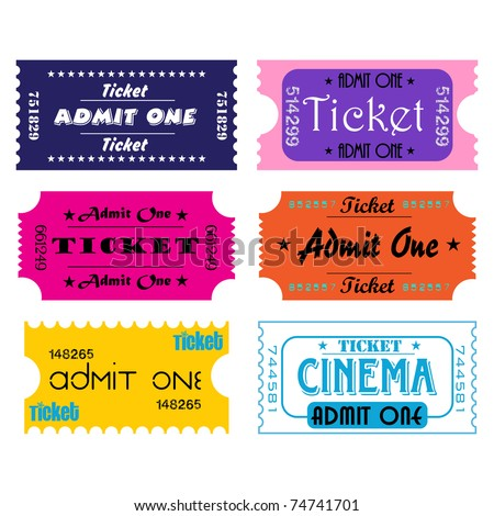 Six colorful tickets for cinema or other kind of entertainment shows - stock vector