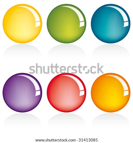 Six colors web button set on white background
