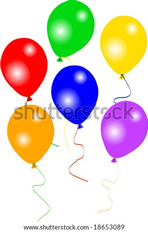 Six colourful party balloons