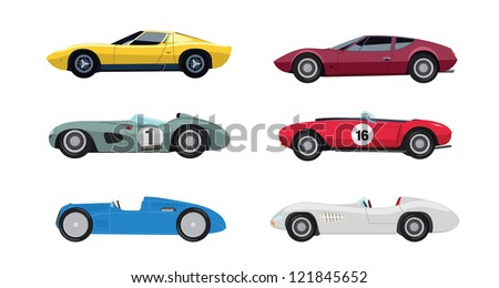 Six colourful vector old cars from a side view on a white background - stock vector