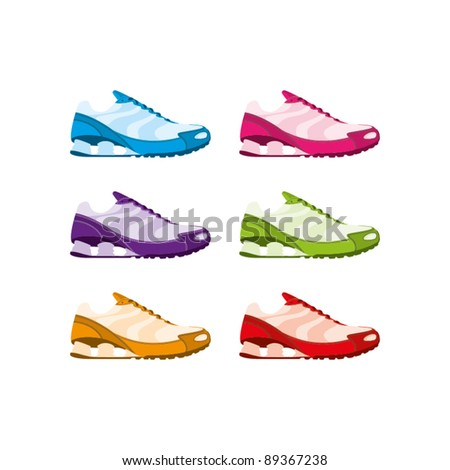 Six colourful vector running shoes on a white background