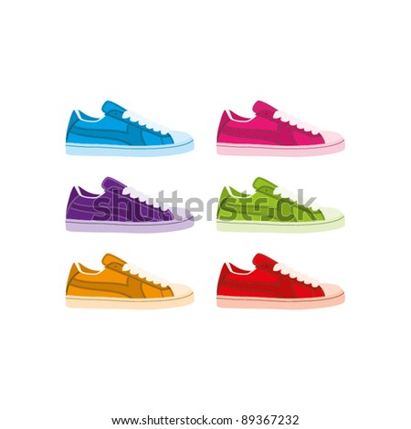 Six colourful vector shell-toe sneakers on a white background
