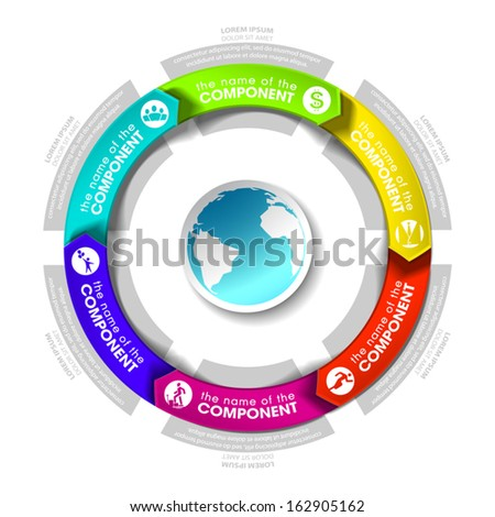 Six components make up something. Modern business circle origami style options banner. Can be used for workflow layout, diagram, number options, step up options, web design, infographics. - stock vector