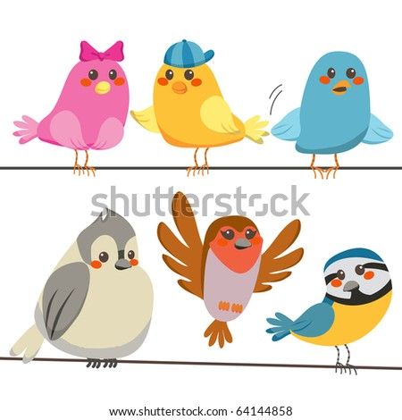 Six cute and colorful little birds perched on power wire lines
