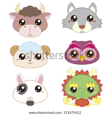 six cute cartoon animal head icons - stock vector