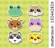 six cute cartoon animal head stickers - stock vector