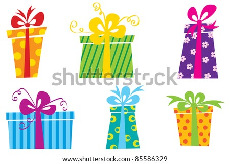Six cute colorful gift boxes - stock vector