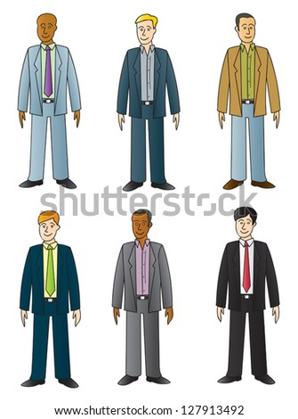 Six different cartoon twenty to thirty something business dudes in various ethnic looks. - stock vector