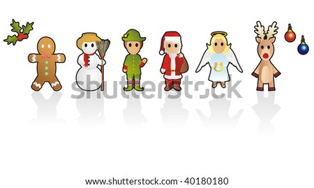 Six different Christmas characters - stock vector
