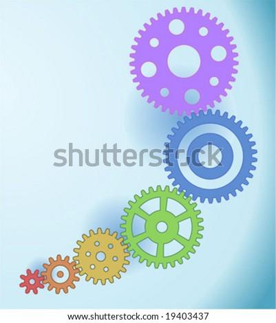 Six different gears - linked mechanism - stock vector