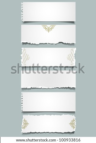 Six different notes paper. Vector eps 10 - stock vector