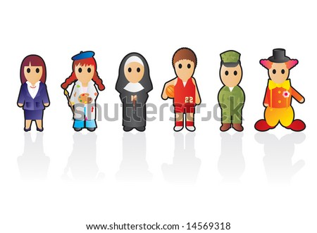 Six different professions (set 1) - stock vector