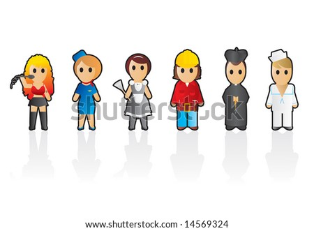 Six different professions (set 3) - stock vector