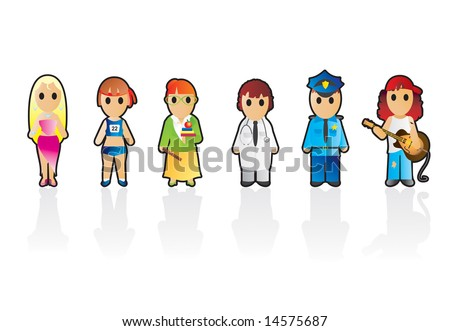Six different professions (set 5) - stock vector