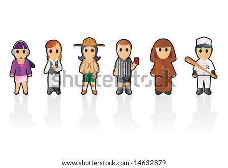 Six different professions (set 6) - stock vector