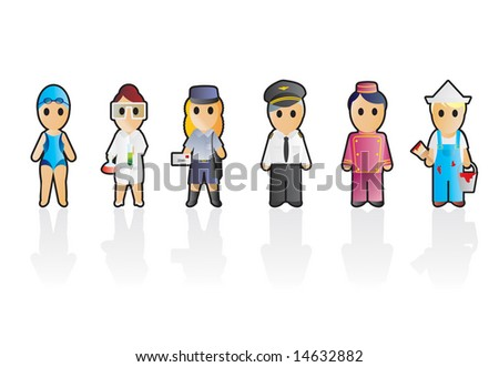 Six different professions (set 7) - stock vector