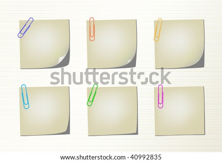 Six different variation pages with bent corner and colored clips - stock vector