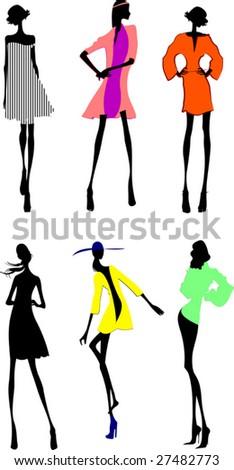 Six Fashion Girls Silhouette. More In My Portfolio. - stock vector