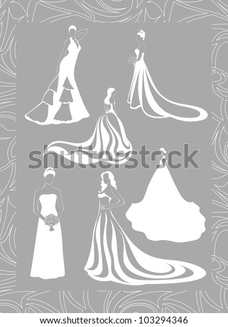 six figures of brides in full growth in a lace frame - stock vector